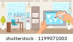 office interior and workspace.... | Shutterstock .eps vector #1199071003