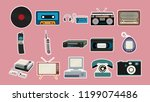 set of stickers of old retro... | Shutterstock .eps vector #1199074486