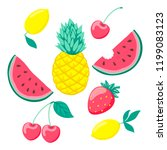 set of stylized fruits  a... | Shutterstock . vector #1199083123
