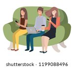 group of people using... | Shutterstock .eps vector #1199088496