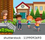 students at school yard... | Shutterstock .eps vector #1199092693