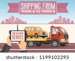 car delivery concept. shipping... | Shutterstock .eps vector #1199102293