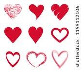 set vector of sketch red hearts ... | Shutterstock .eps vector #1199112106