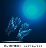 prayer hand. low poly wireframe ... | Shutterstock .eps vector #1199117893