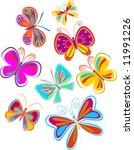 Stock vector set of abstract butterflies vector 11991226