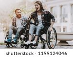 disabled people on wheelchairs...   Shutterstock . vector #1199124046