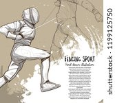 fencing sport drawing vector.... | Shutterstock .eps vector #1199125750