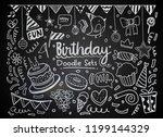 happy birthday background. hand ... | Shutterstock .eps vector #1199144329