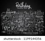 happy birthday background. hand ... | Shutterstock .eps vector #1199144356