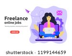 freelance online job design... | Shutterstock .eps vector #1199144659