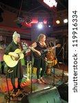 "Small photo of MOSCOW, RUSSIA - NOVEMBER 17: Miriam Kjolend and Oda Dahl play concert in ""Gorbushkin Dvor"" hall on November 17, 2012 in Moscow. Miriam and Oda are members of ""Mhoo"" Norvegian music band."