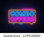 combo offers neon text vector... | Shutterstock .eps vector #1199165860