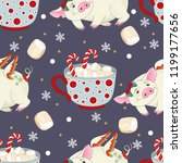 seamless pattern with christmas ... | Shutterstock .eps vector #1199177656