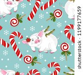 seamless pattern with christmas ... | Shutterstock .eps vector #1199177659