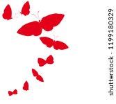 beautiful red butterflies ... | Shutterstock . vector #1199180329