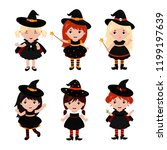adorable little witch... | Shutterstock .eps vector #1199197639