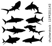 set of silhouettes sharks on a... | Shutterstock .eps vector #1199201143