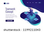 teamworking in the business... | Shutterstock .eps vector #1199211043