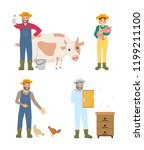farmer man and woman isolated... | Shutterstock .eps vector #1199211100