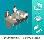 meeting seminar people on table ... | Shutterstock .eps vector #1199212066