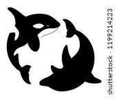 silhouettes killer whales and... | Shutterstock . vector #1199214223
