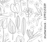 hand  drawn tropical flowers. ...   Shutterstock .eps vector #1199215339