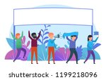 cheering  congratulating... | Shutterstock .eps vector #1199218096