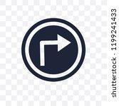 turn right sign transparent... | Shutterstock .eps vector #1199241433