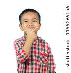 asian boy smiling on white...   Shutterstock . vector #1199266156