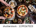 serving a pizza food... | Shutterstock . vector #1199267023