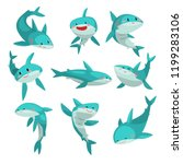cute friendly sharks set  cute... | Shutterstock .eps vector #1199283106