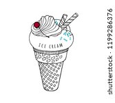 a scoop of ice cream with... | Shutterstock .eps vector #1199286376