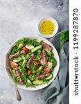 grilled tuna  avocado  tomato... | Shutterstock . vector #1199287870
