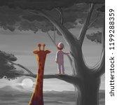 boy and giraffe. meet someone... | Shutterstock . vector #1199288359