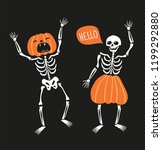 couple of funny skeletons with... | Shutterstock .eps vector #1199292880