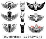 set of vintage rock music fest... | Shutterstock .eps vector #1199294146