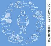 fat boy  badminton rackets and... | Shutterstock .eps vector #1199294770