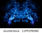 Small photo of Cloud of blue, red smoke in the form of a skull, monster, dragon on a black isolated background. Background from the smoke of vape. Mocap for cool t-shirts
