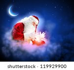 santa with beard and red hat... | Shutterstock . vector #119929900