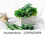 freshly herbs in wooden box on... | Shutterstock . vector #1199302699