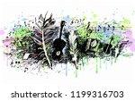 music  song  poetry. guitar ... | Shutterstock .eps vector #1199316703