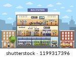 bus station building interior... | Shutterstock . vector #1199317396