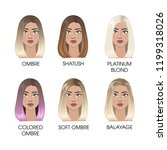 colored hair set. ombre and... | Shutterstock . vector #1199318026