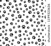 paw print seamless pattern.... | Shutterstock .eps vector #1199323636