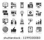 blogging silhouette icons set.... | Shutterstock .eps vector #1199330083