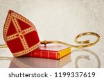 mitre or mijter and staff of... | Shutterstock . vector #1199337619