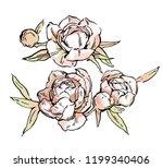 beautiful hand drawn bouquet of ... | Shutterstock .eps vector #1199340406