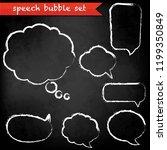 black chalk board with speech... | Shutterstock . vector #1199350849