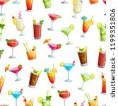 alcoholic cocklails seamless... | Shutterstock .eps vector #1199351806