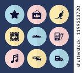set of 9 modern filled icons... | Shutterstock .eps vector #1199353720